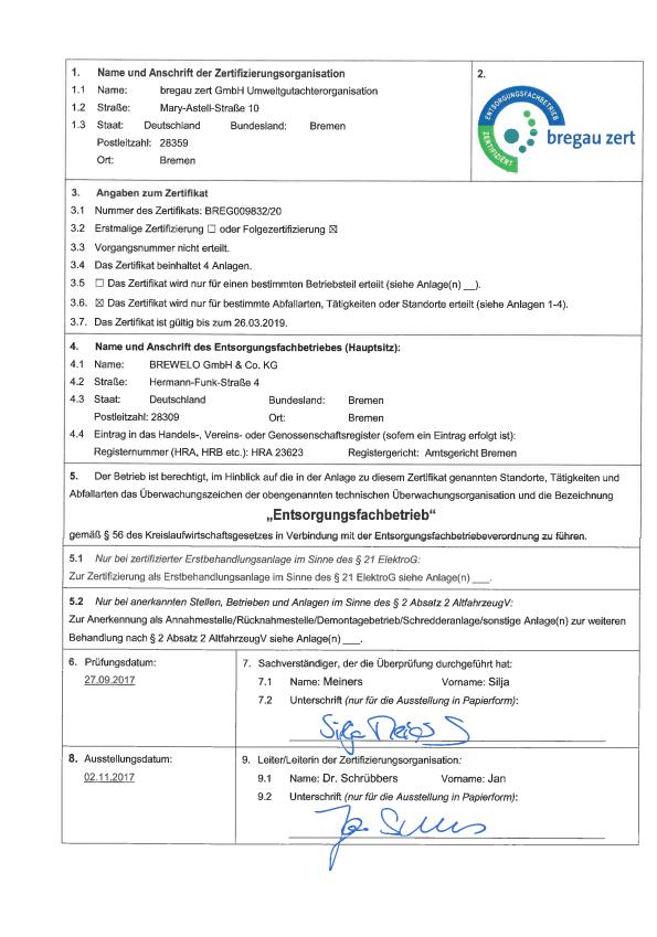 EfB-Zertifikat - BREWELO